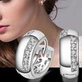 2015 Fashion Women s Wedding Party Zircon Silver Plated Ear Studs Hoop Huggie Earrings 5Q5A