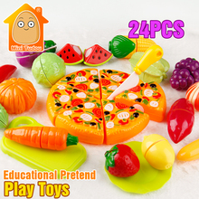 MiniTudou Colorful Miniature Food Cut Vegetables Toy 24PCS Olastic Fruit Food Toys For Girls Kitchen Pretend Play Set For Kids(China (Mainland))