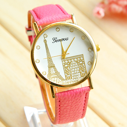 2015 summer newest women s fashion watches High quality leather quartz watch Simple printing Watch Tower