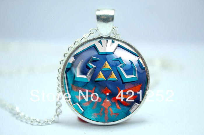 Legend of Zelda Syward Sword Hylian shield Skyloft shield inspired glass cabochon dome pendant necklace(China (Mainland))