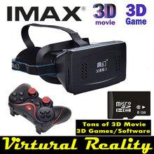 2015 Headmount Virtural Reality 3D Glasses Google Cardboard + Bluetooth Gamepad Controller + 8GB Micro SD + 3D Movies Games(China (Mainland))