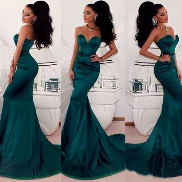 Custom made 2015 Sexy Sweetheart Lime Green Satin Elegant Long Mermaid Evening Dress Floor Length Women Special Occasion Dresses(China (Mainland))