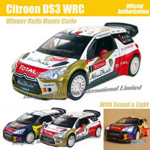 1:26 Scale Diecast Alloy Car Model For Citroen DS3 Racing WRC Monte Carlo Winner Collection Model Toys Car With Sound&Light(China (Mainland))