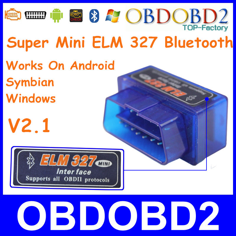 Super Mini ELM327 Bluetooth V2.1 OBD2/OBDII ELM 327 Wireless Car Diagnostic Tool Work On Android/Windows With 12 Kinds Languages(China (Mainland))