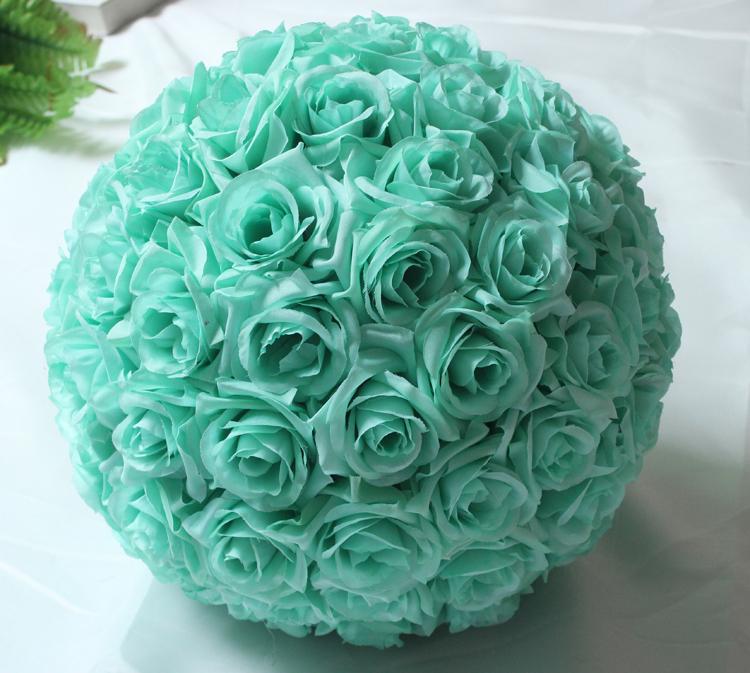 6.8 pulgadas (17 cm) Verde Menta de Flores Centros De Pelota Rose de Seda Decorativo Colgando Bola de la Flor de La Boda Besando La Bola Pomander Decoración(China (Mainland))