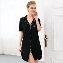 Sexy Black modal Robe Nightgown Women Nightshirts Sleeve Indoor Clothing Sleep Dress Female Bathrobes negligee bridesmaid robes(China (Mainland))