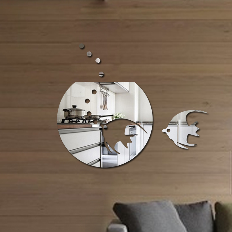Free shipping acrylic tropical fish wall decoration decal 1MM thick plastic mirror home decoration for bathroom mirror sticker(China (Mainland))
