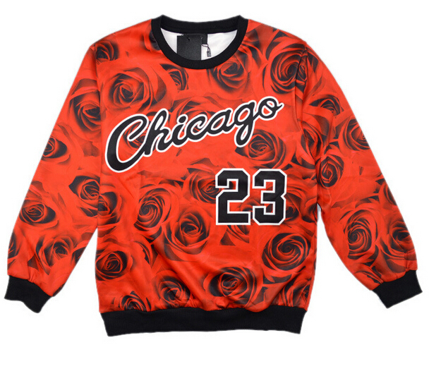 New chicago Jordan 23 letter brooklyn carter print 3d sweatshirts rose floral sportswear fashion hoodies red women/men sweat(China (Mainland))