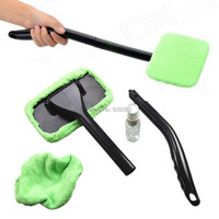 Microfiber Windshield Wonder Cleaning Tool Car Glass Window Cleaner w/ 2 pads