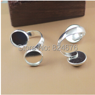 Shiny Silver Plated Brass Finger Ring Setting, Double Tray Ring, Adjustable Jewelry Making,. - Dofuny Decoration Store store