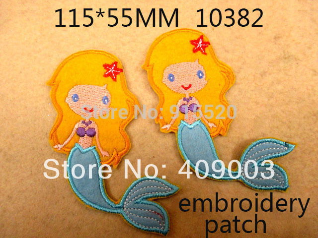 10Y10382 Free shipping Embroidery Mermaid patch Embroidered Patch Iron on Clothing, hot fix back style(China (Mainland))