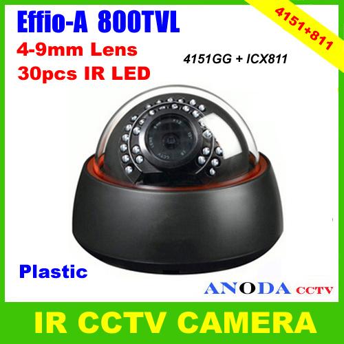 Plastic Dome Type CCTV Camera 800TVL Sony Effio-A OSD Menu 4-9mm Zoom Lens Day/Night Vision IR Video Camera(China (Mainland))