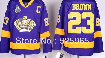 Hot Sale!High quality 2012 Stanley Cup Champions Los Angeles Kings #23 Dustin Brown Purple Team Classic ice Hockey Jersey