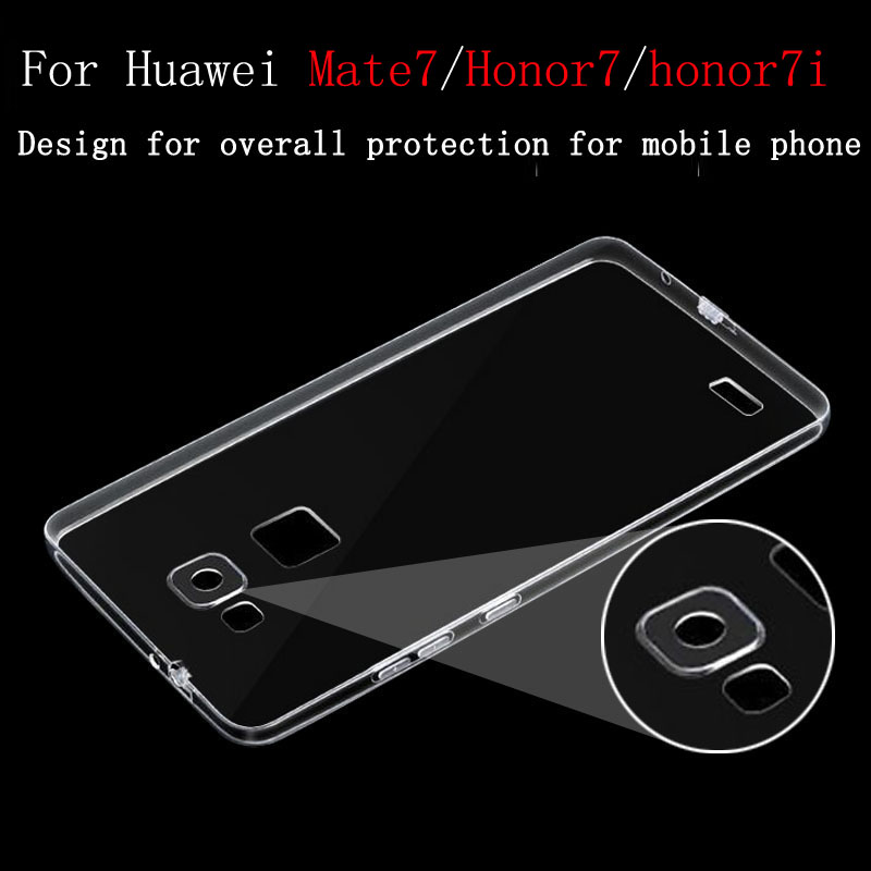 2016 Original for Huawei Honor 7 7i Case Cover Ultrathin Transparent TPU Soft Cover Protective Case For Huawei Ascend Mate 7(China (Mainland))