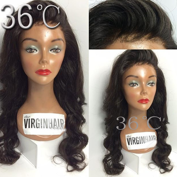 Affordable Full Lace Wigs Mongolian Body Wave Full Lace Wigs #1B Unprocessed Virgin Lace Front Human Hair Wigs Wave Wigs(China (Mainland))
