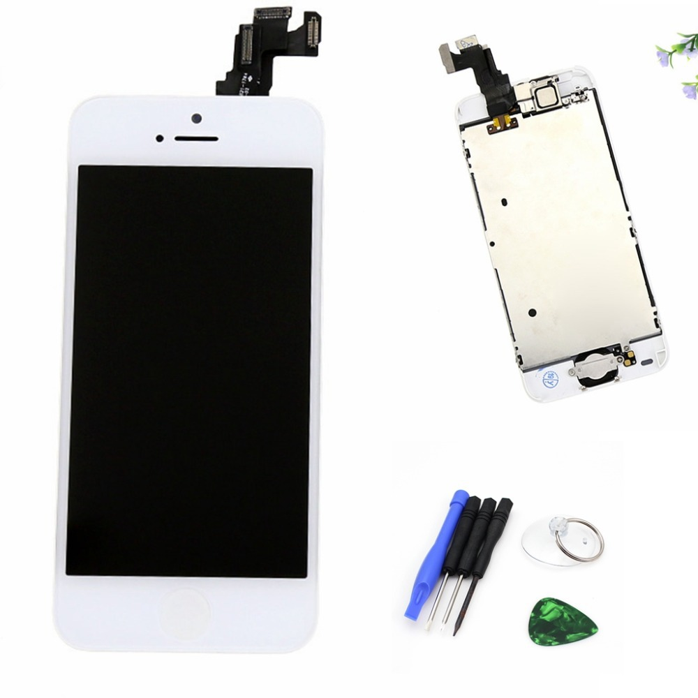 White LCD For iphone 5C LCD display touch screen digitizer frame + Home button flex cable + front camera + Tools Free shipping(China (Mainland))