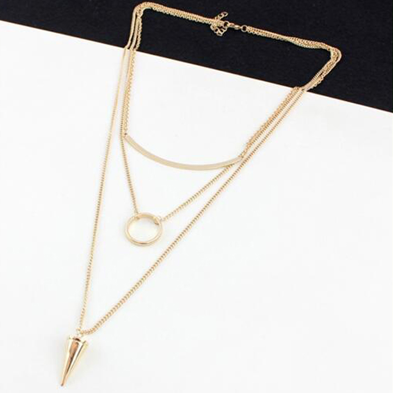 Famous Brand Forever Bijoux 3 Three Layer Necklaces Pendant 21 Jewelry Cone Rivet New Moon Round 18K Gold Plated For Women(China (Mainland))