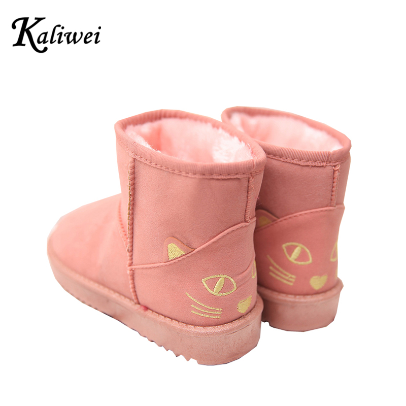 KALIWEI Manufacturers Selling 2016 Winter Snow Boots Warm Ladies Classic Cartoon Cat Female Cotton Shoes Woman(China (Mainland))