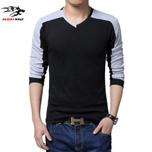 Free shipping M-5XL male t shirts spring fashion v neck full sleeve casual patchwork Fitness t shirts 2016 cotton men's clothes