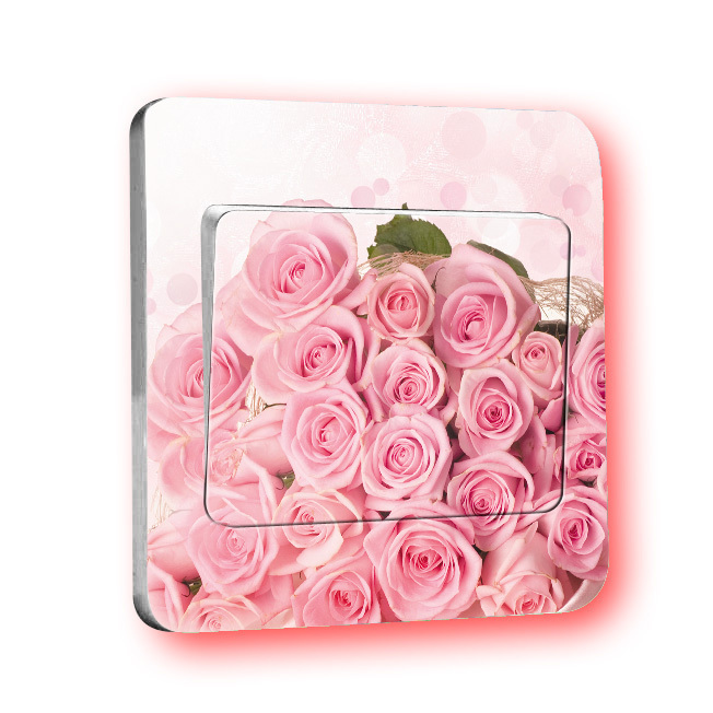 Good Sale Home Decoration Pink Roses Switch Stickers Translucent PVC Removable Vintage Paste Creative Room Decor(China (Mainland))
