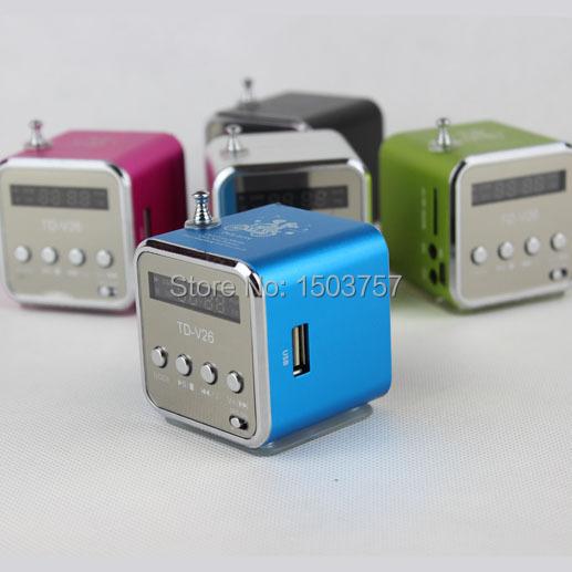 TD-V26 2pcs Mini MP3 Player TF Card USB Disk Micro SD Card FM Radio Line In / Out Sound Box Digital Portable Speaker(China (Mainland))