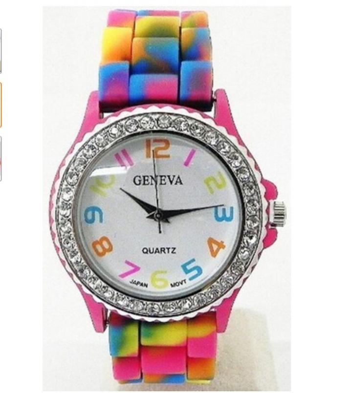 Essential Rainbow Crystal Rhinestone Watch Silicone Jelly Link Band Quartz Bangle Bracelet Dress Quartz Wrist Watches 624(China (Mainland))