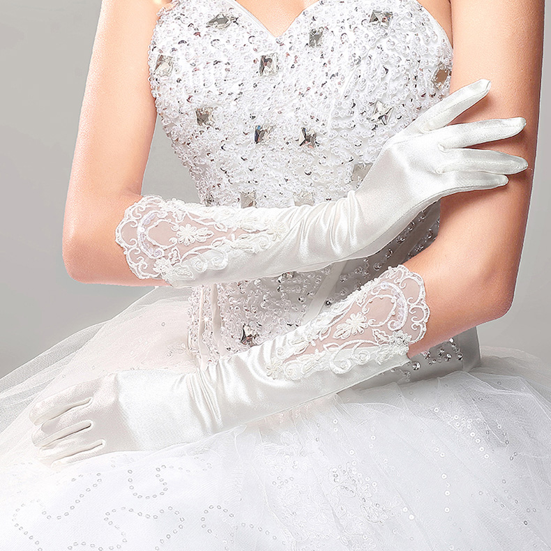 2016 Fashion cheap Autumn winter wedding gloves long white lace bride gloves