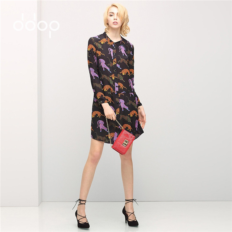 Animal Pattern Shirt Dress 2016 Spring Long Sleeve Ladies Dresses 100% Silk Casual Tunique Femme New Vestidos 2016
