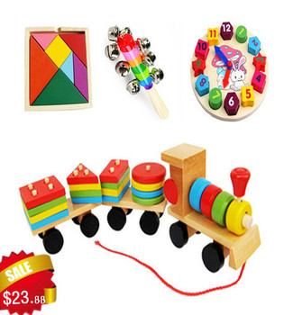 Free Shipping!4 in 1 Wooden Toys Wooden Train Baby Rattle Building Blocks And Wooden Blocks Kids Educational Toys 4pcs for set