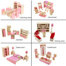 Adorable Wooden dollhouse furniture set sets 6styles/6Sets Construction toys toy  Free shipping   35(China (Mainland))