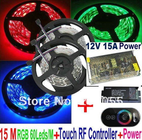 15M RGB SMD 5050 60Leds/M Waterproof IP65 Led Strip Light 3*5M +Black RF Wireless Touching remote Controller+15A Power/Adapter(China (Mainland))