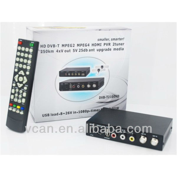 2013 newest, Smaller, Smarter H.264 2 tuner PVR USB Record car dvb t mpeg4(China (Mainland))