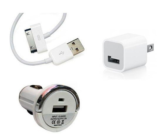 Free Shipping High Quality 3 in 1 Charger Kit Power Adapter+Car Charger+USB Data Cable for Apple iPad/iPhone/iPod