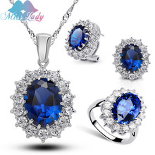 18K Gold Plated Rhinestone Crystal William Kate Queen sapphire bridal wedding Jewelry Sets Necklace Earring Ring for women Z1194(China (Mainland))