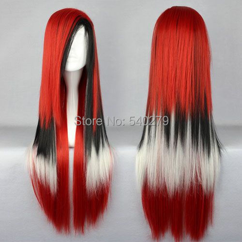 80cm Harajuku Cosplay Wig Long Straight Women Synthetic Hair 31'' Red White Black Mixed-color Ombre Anime - HD online Store store