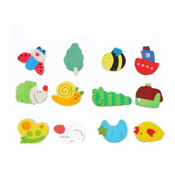 Гаджет  Newborn Baby 12 pcs a set Kids Baby Wooden Cartoon Fridge Magnet Child Educational &Learning Classic Baby Toys free shipping None Игрушки и Хобби