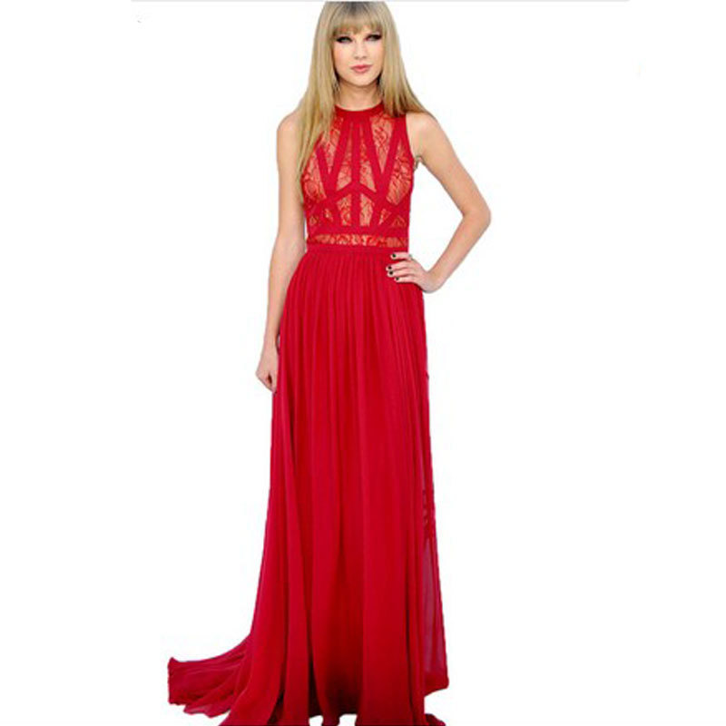 Vestido De Festa 2015 New Fashion Women Red Lace Chiffon Long Dress Sleeveless Crochet Maxi Evening Club Prom Party - East Park store