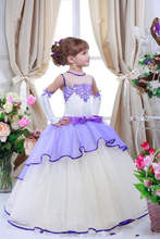 Romantic Lilac Flower Girl Dresses for Weddings Jewel Neck Tulle Floor Length Lace Appliqued Kids Formal Pagenat Gowns Plus Size(China (Mainland))