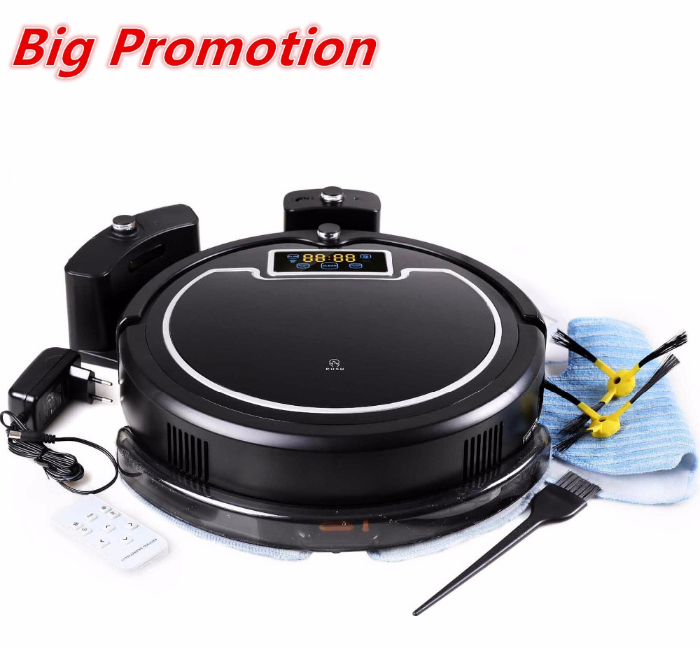 (Free All, Fast Delivery) Robot Vacuum Cleaner Water Tank,Wet&Dry,TouchScreen,withTone,Schedule,Virtual Blocker