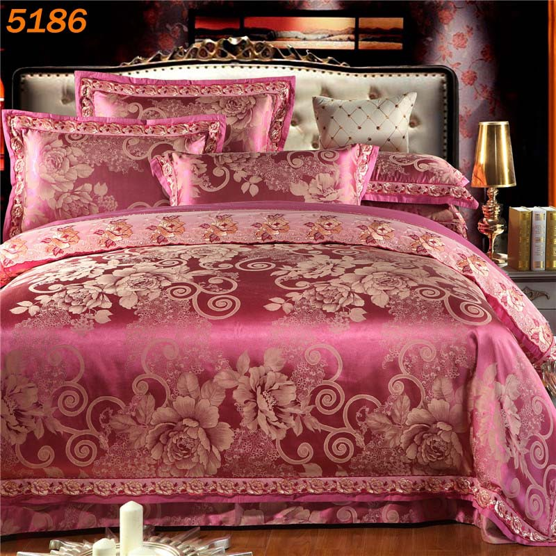 nordic silk bedding set tencel bed linen queen king bedspreads tribute Jacquard silk comforter cover silk/cotton sale 5186(China (Mainland))
