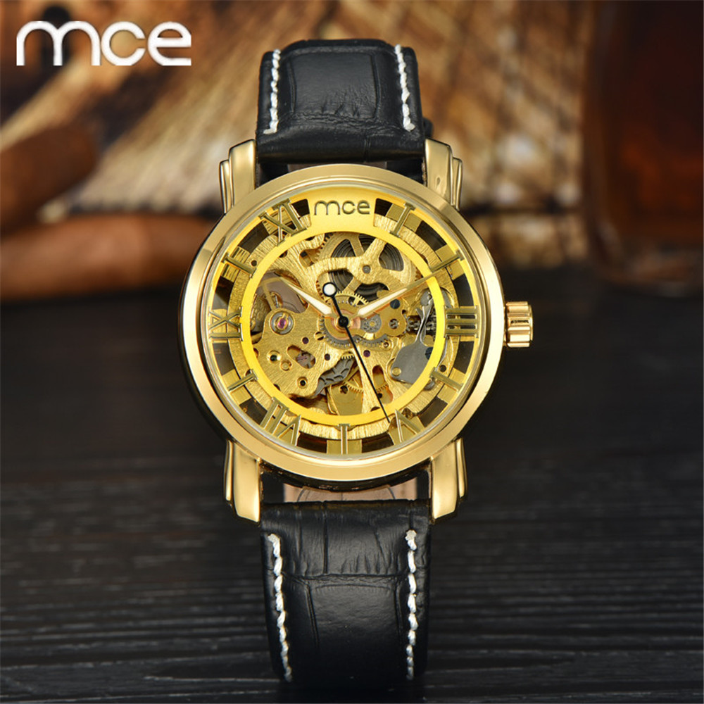 Top brand men MCE Skeleton gold mechanical watches men High quality Black leather automatic watch men luxury Relojes hombre 2016(China (Mainland))