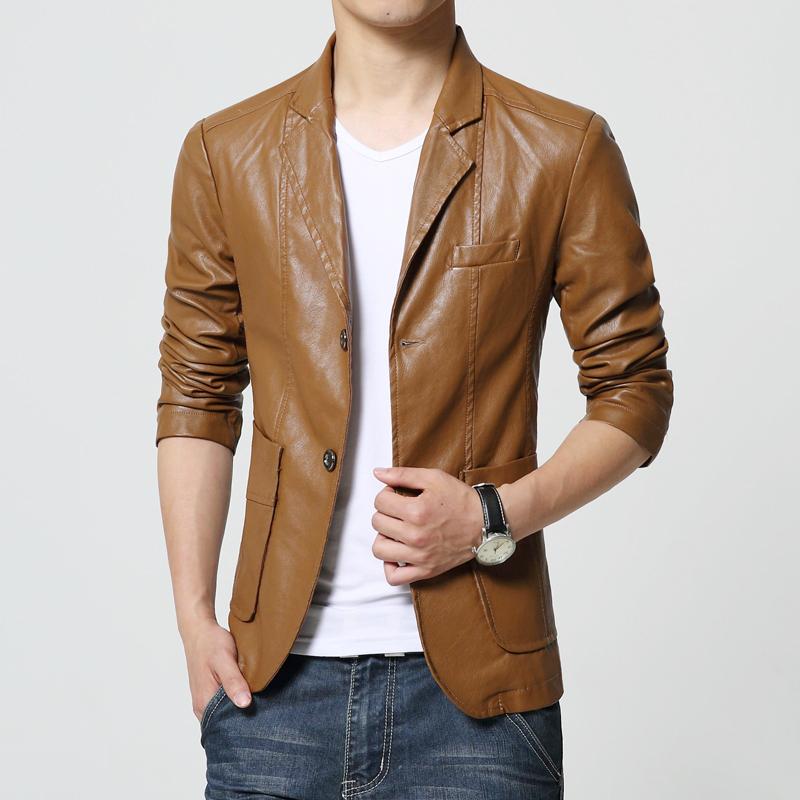 New Brand Men's Blazer Jacket Men Soft PU Leather Coat Male Fashion Khaki Blazer Masculino Slim Fit Suit Style Casual Blazers(China (Mainland))