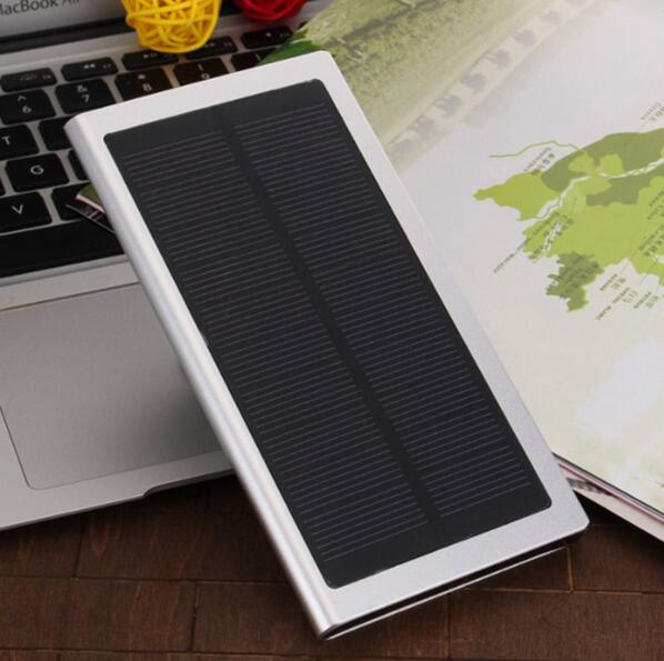 New 10000mAh Ultra Thin Matal Solar Power Bank Super Slimsolar External Battery Pack Mobile USB Charger for iPhone for xiaomi(China (Mainland))