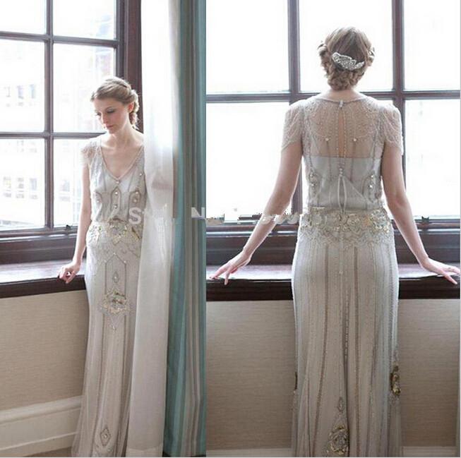 2015 new arrival art deco wedding dress sheath open back for Art deco wedding dresses
