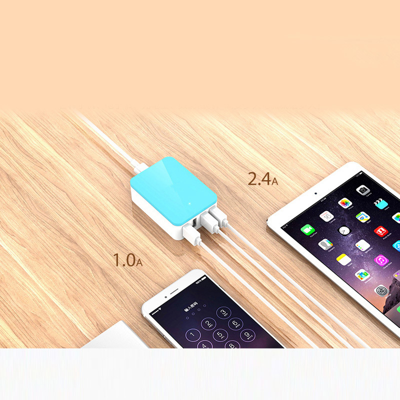 High Quality Portable USB Cell Phone Carregador Hub Multiport Travel Charger for iPad iPhone Samsung HTC Sony Nokia Google Nexus(China (Mainland))