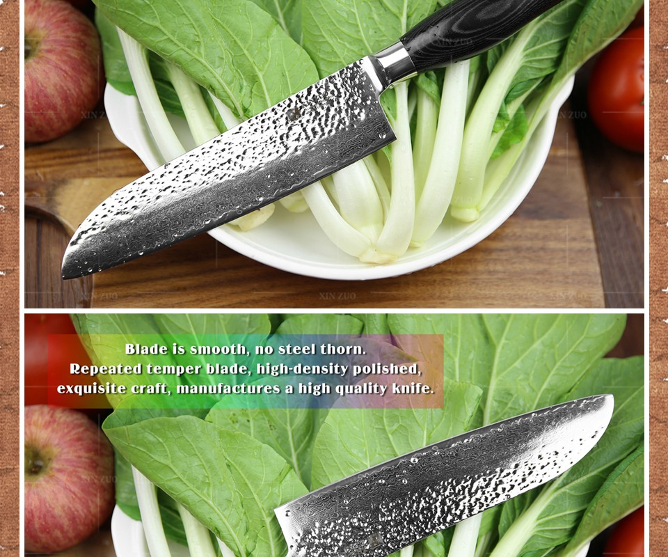 Buy XINZUO 5 pcs kitchen knives sets Damascus kitchen knife Japanese VG10 cleaver chef utility knife hammer striae free shipping cheap