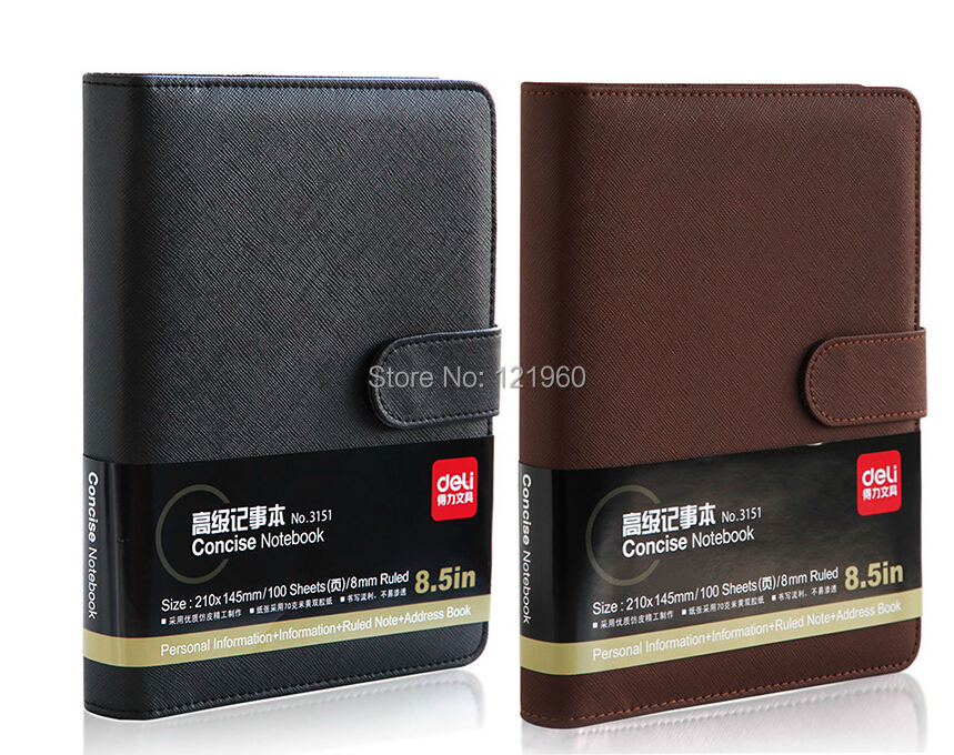 Stationery Deli 3151 leather loose-leaf notebook Notepad 210 * 145mm<br><br>Aliexpress