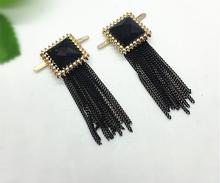 Free shipping 1 pair fashion high-grade gold shiny black glass drill square pendant tassel Shoe flower Shoe Decorations accessor(China (Mainland))