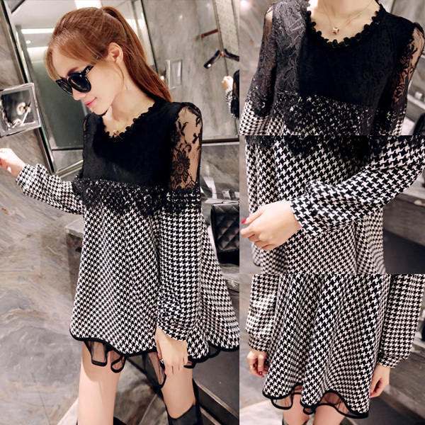 2015 Spring/Fall New Sexy Lace Houndstooth Maternity Dresses Loose Pregnancy Dress Gravida Casual Clothes for Pregnant Women(China (Mainland))