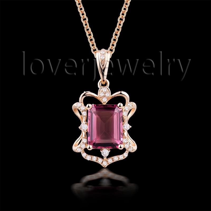 2015 New Design 18Kt Rose Gold Diamond Pink Tourmaline Pendant,Emerald Cut Tourmaline Pendant For Sale WP078<br>